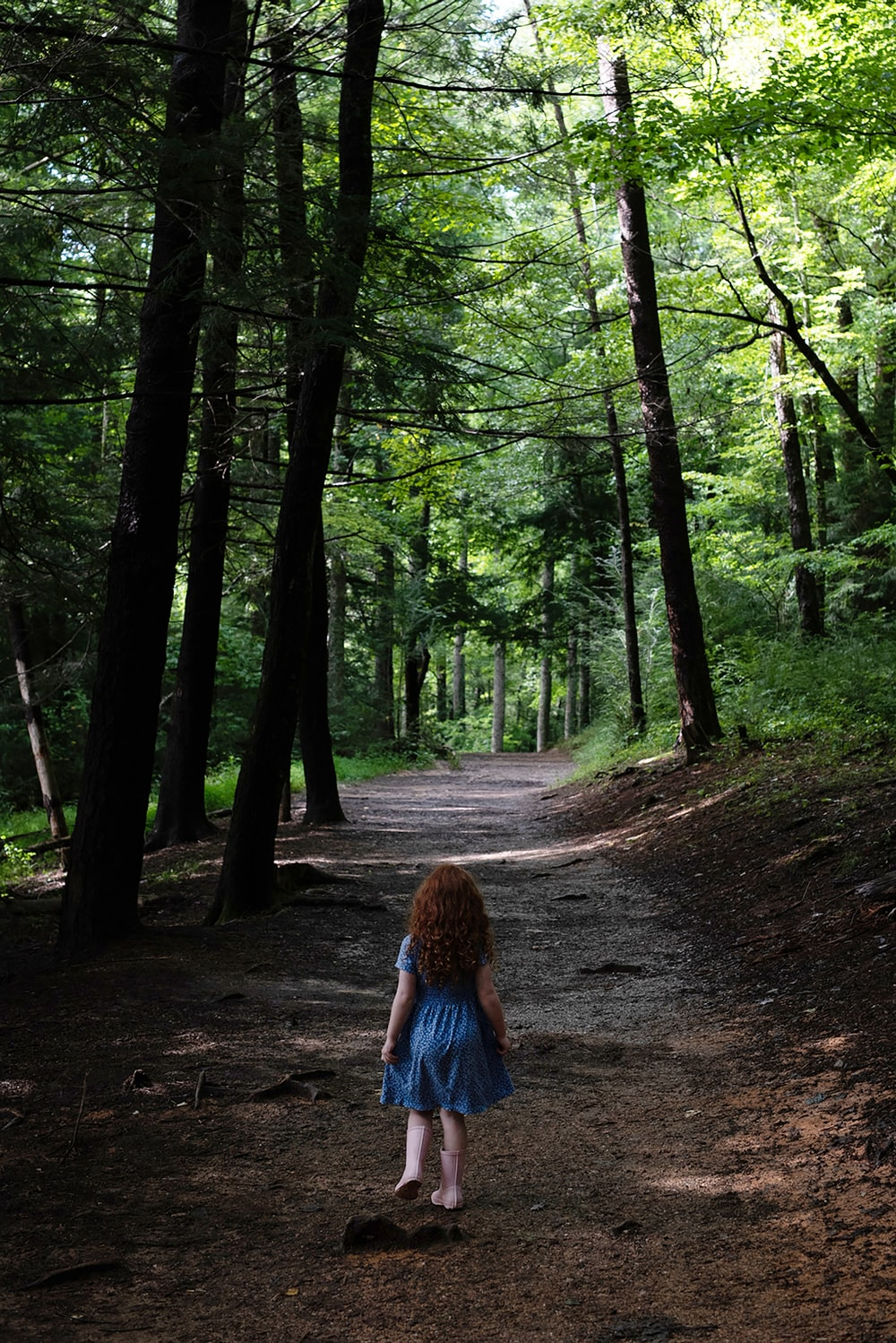 woman in blue denim jacket walking on forest during daytime