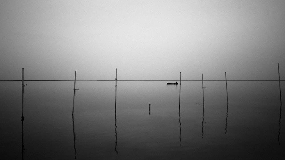 grayscale photo of 2 poles on body of water