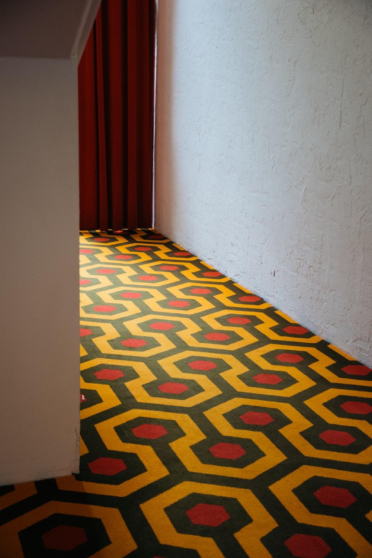 yellow and black floor tiles