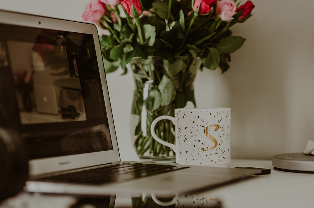 white ceramic mug beside pink roses