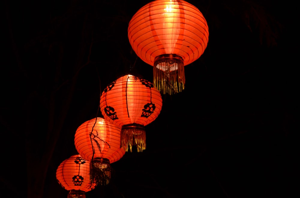 red paper lanterns with black background