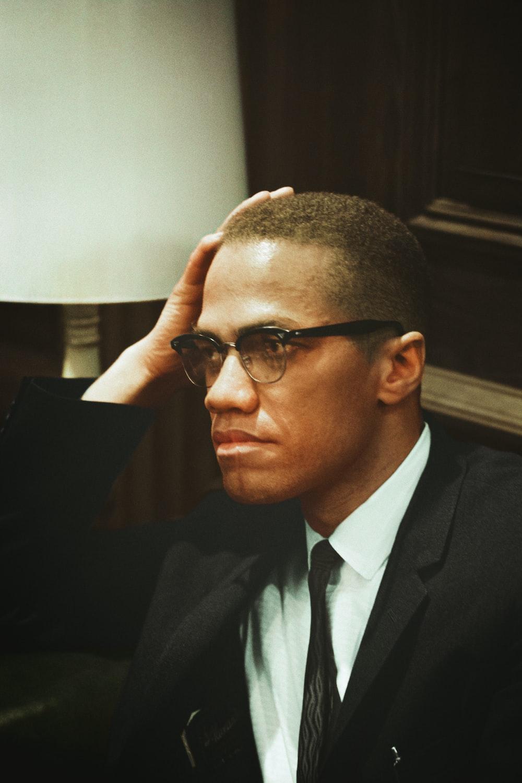 A portrait of Malcolm X