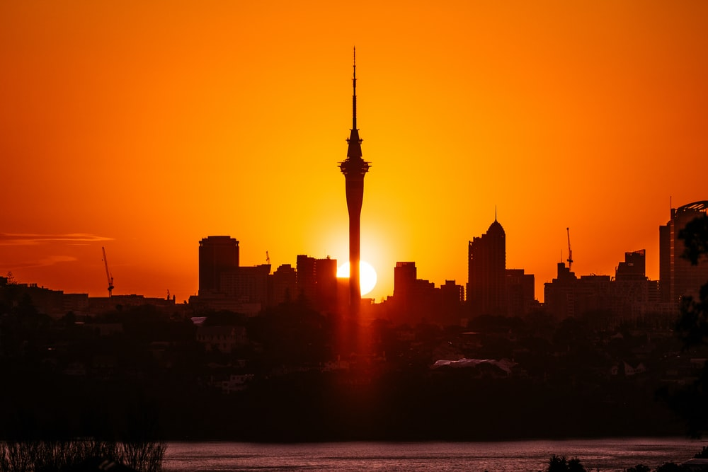 silhouette of city skyline during sunset