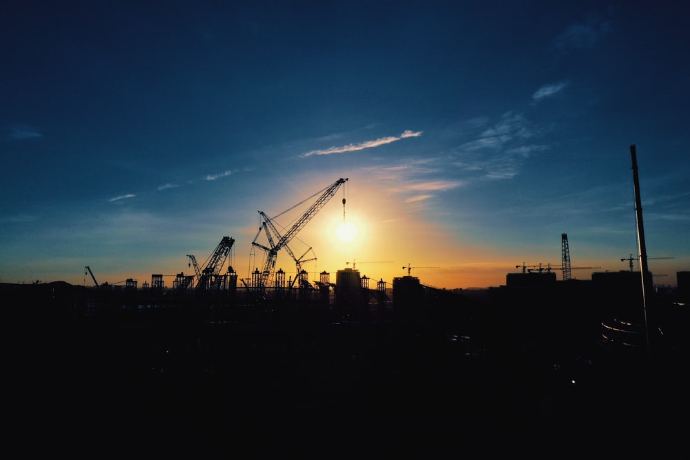 silhouette of crane under blue sky during sunset