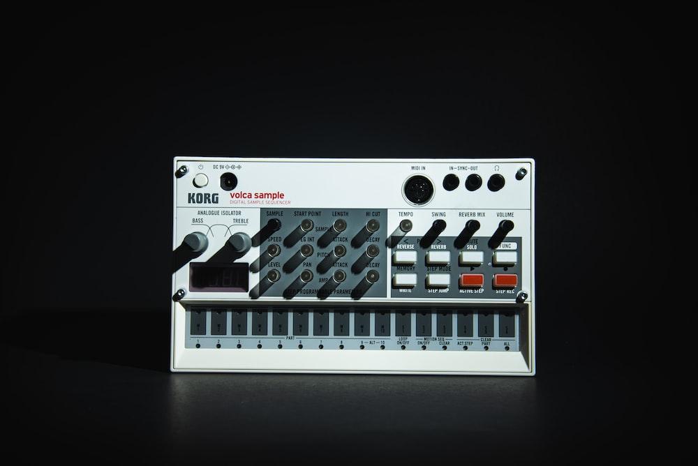 white and black audio mixer