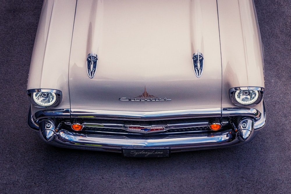 white chevrolet car in close up photography
