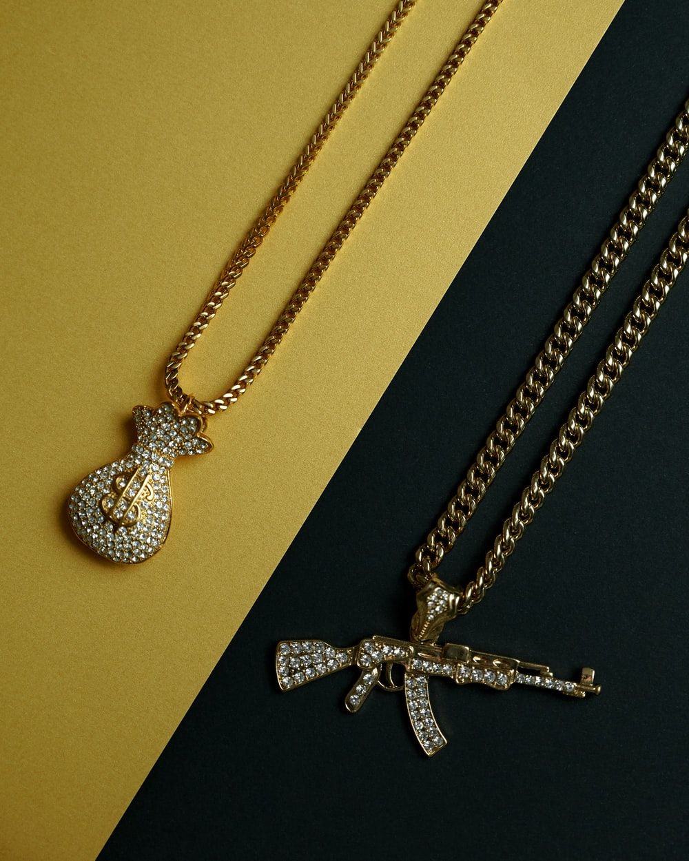 silver and diamond studded cross pendant necklace