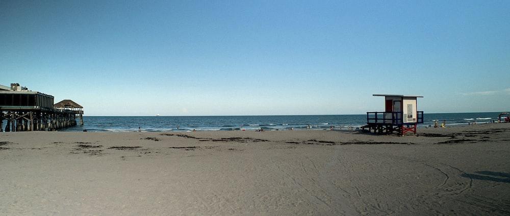 blue sky over sea shore