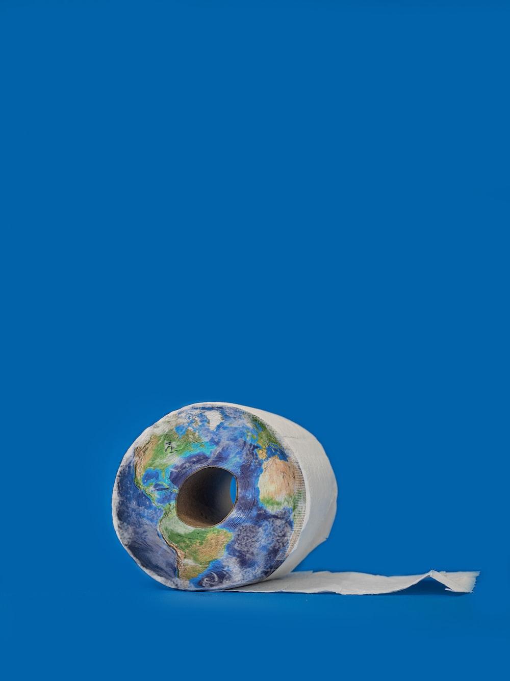 white and blue round decor