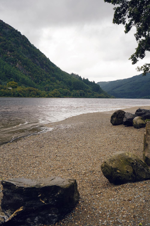 brown rocks on seashore near green mountain during daytime