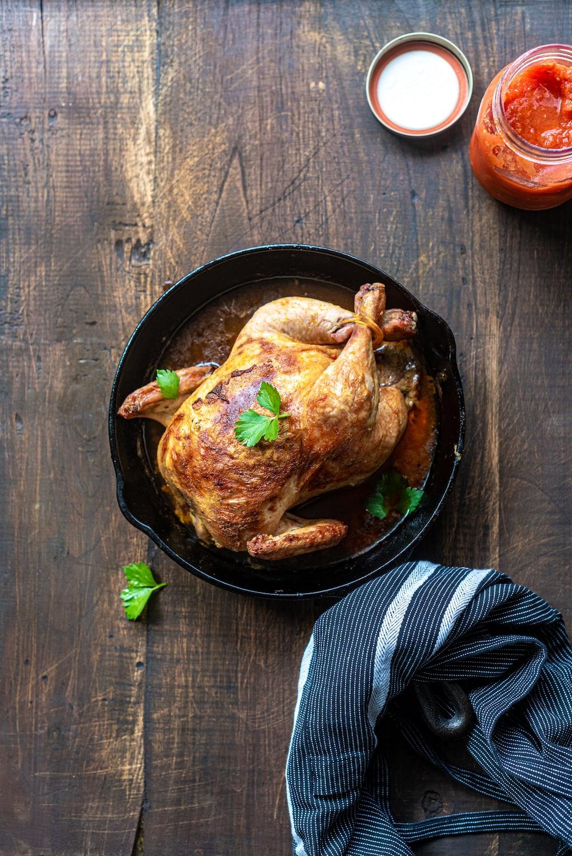 chicken on black round plate