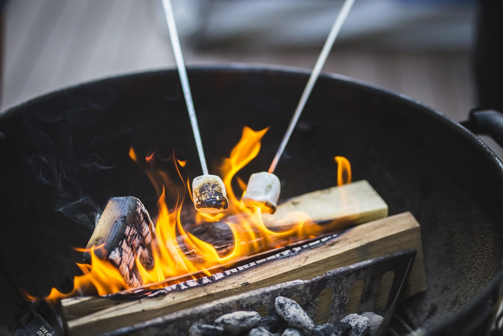 fire on brown wooden table