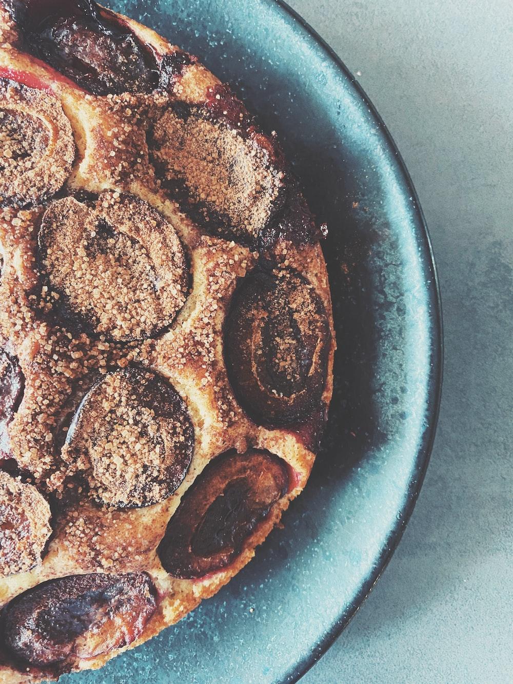 chocolate chip cookies on blue ceramic bowl