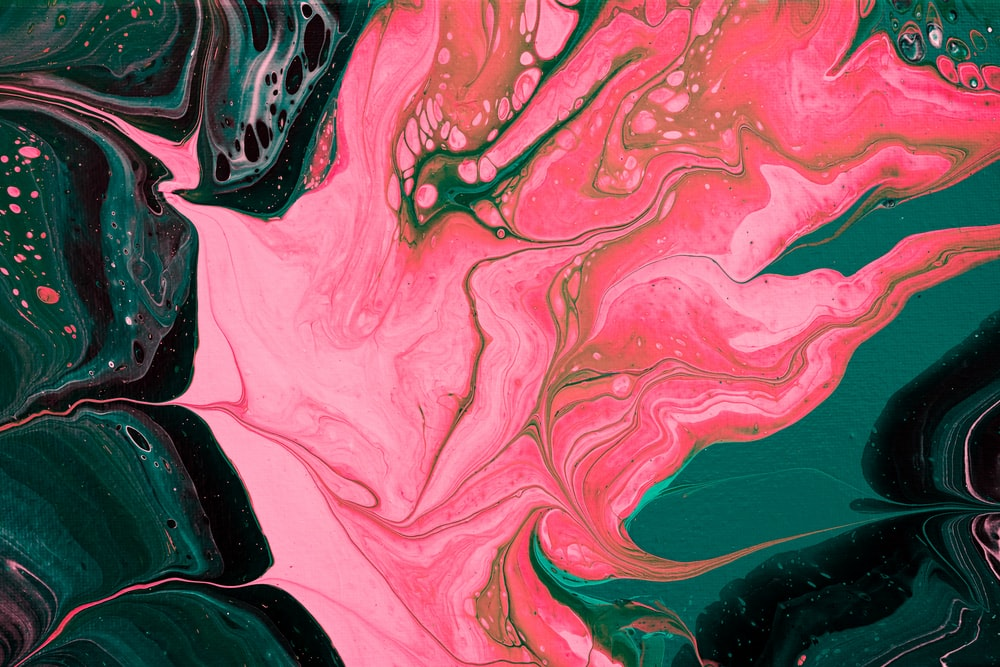 pink black and teal abstract painting
