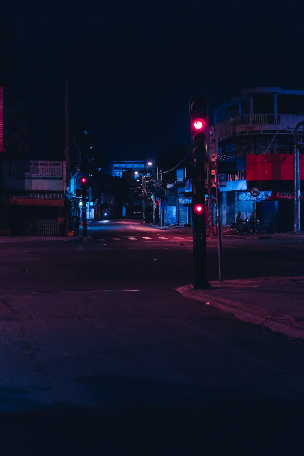 red and white street light during night time