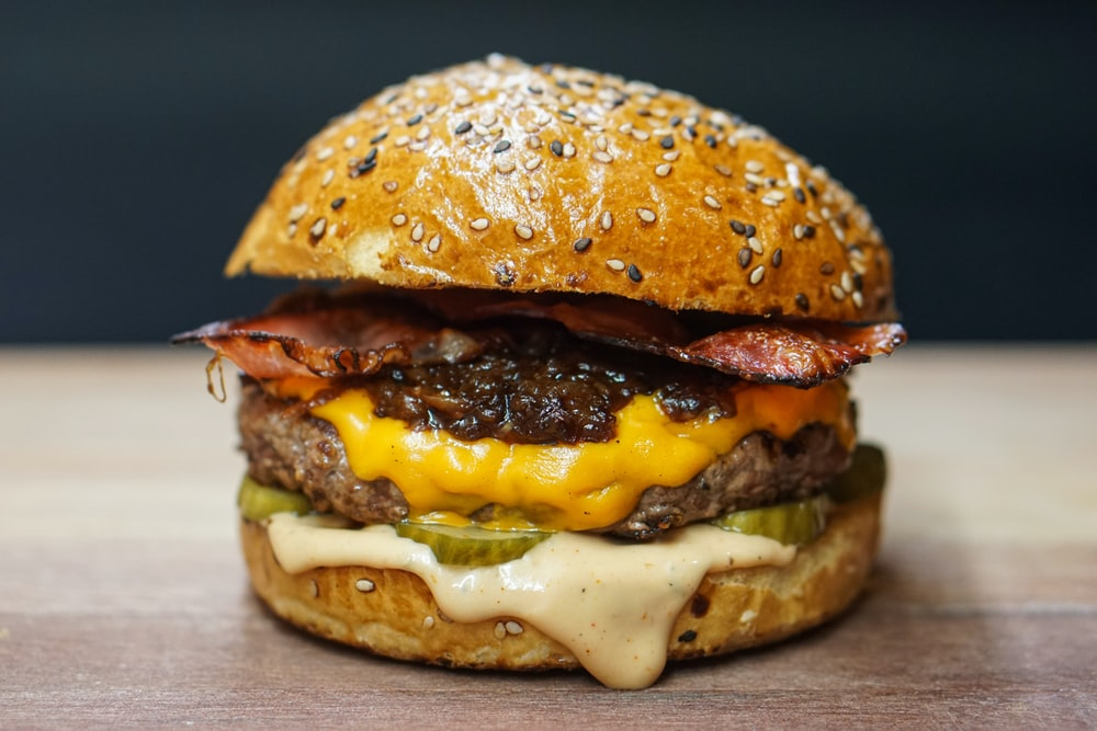 burger with cheese and lettuce