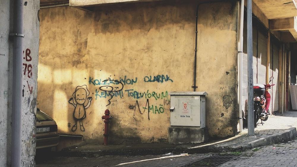 white and blue wall graffiti