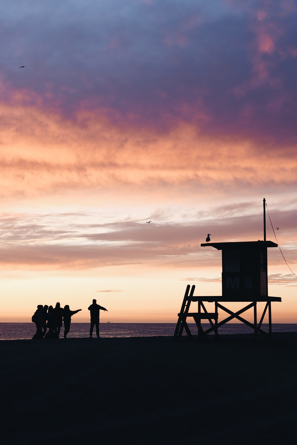 silhouette of people standing on beach during sunset