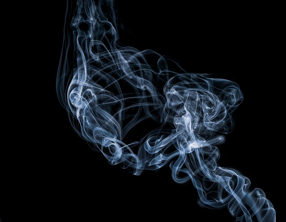 white and blue smoke illustration