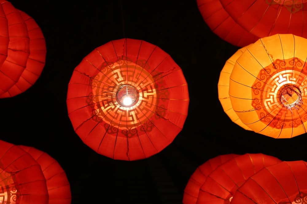 red and yellow round lantern