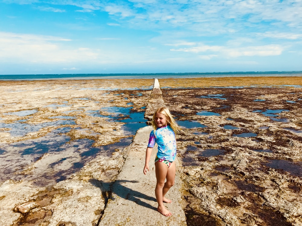 Girl In Blue And White Bikini Standing On Rocky Shore During Daytime