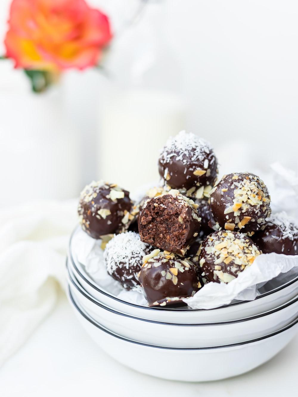 chocolate cupcakes on white ceramic plate