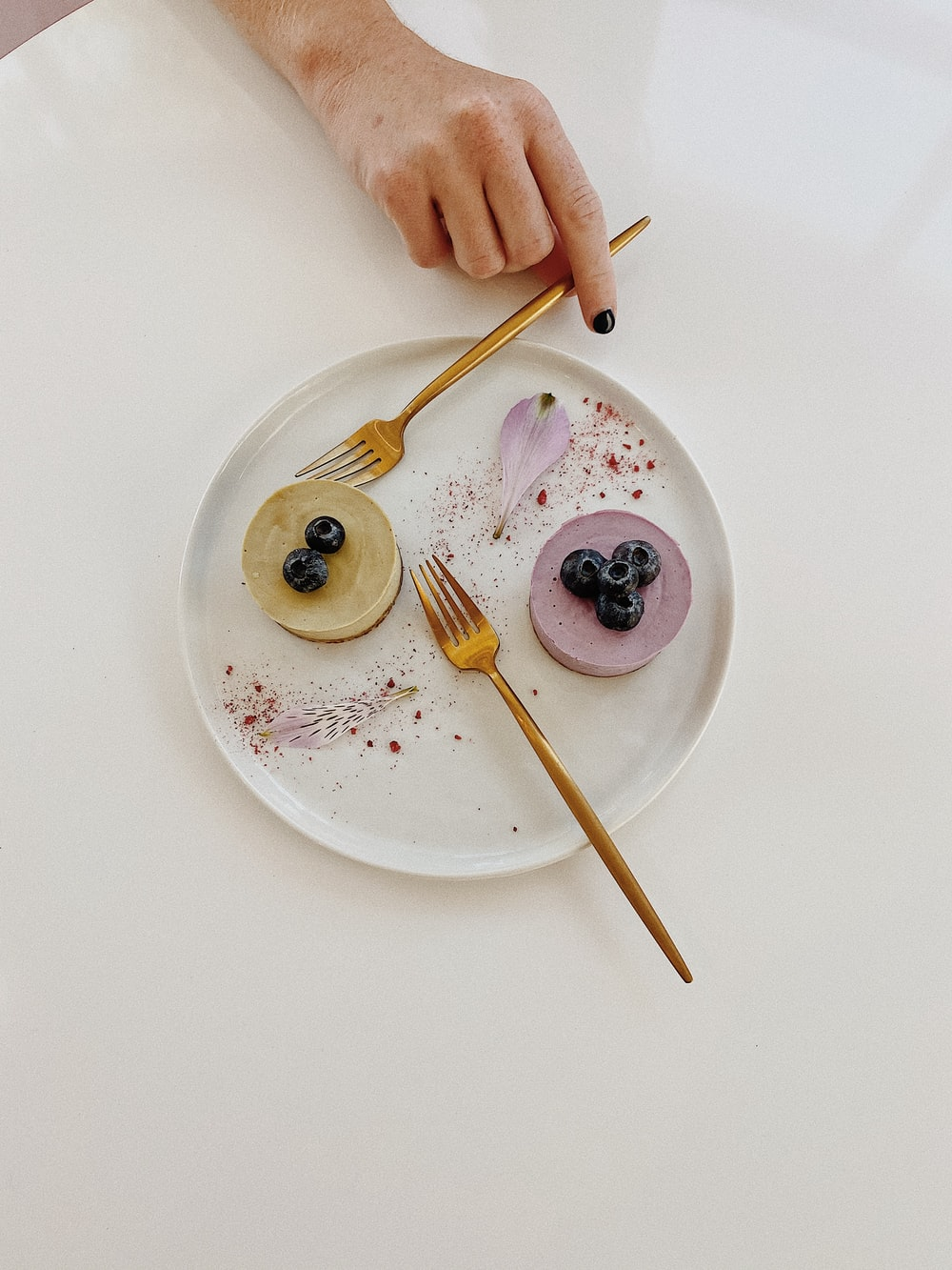 person holding fork on white ceramic plate