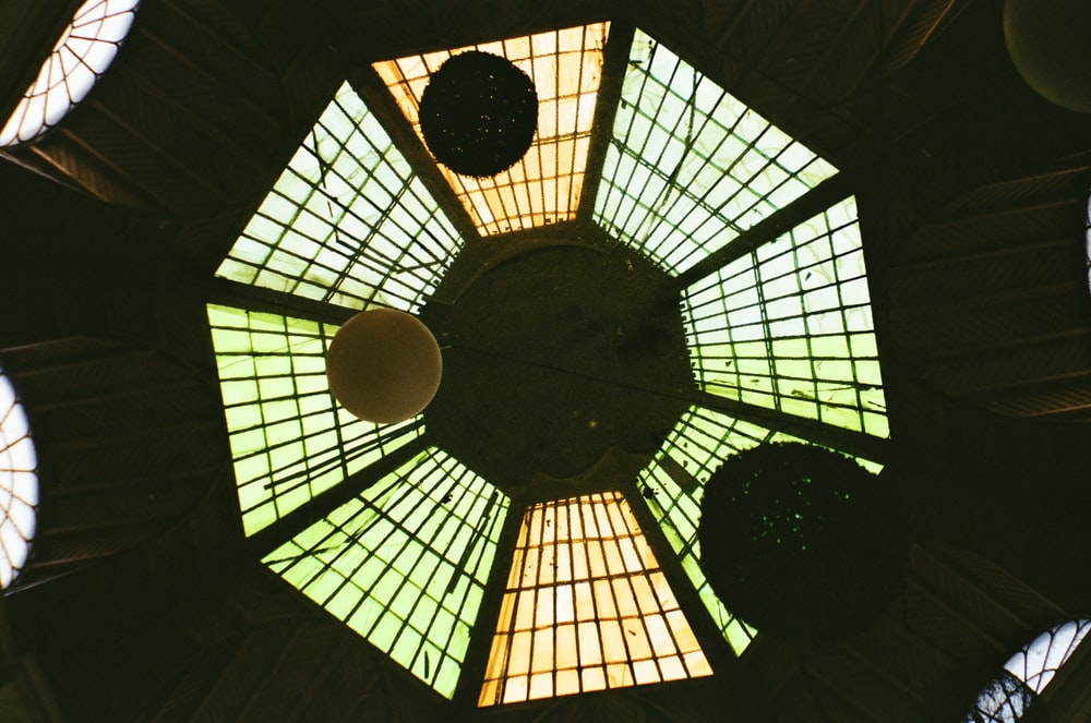 brown and black glass ceiling