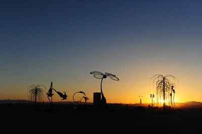 silhouette of person standing on grass field during sunset burning man teams background
