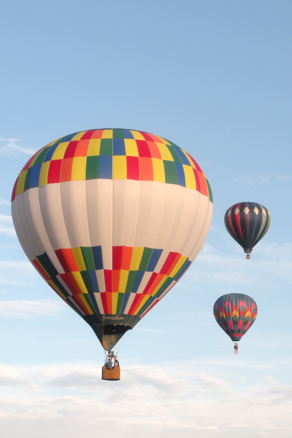 yellow blue and red hot air balloon