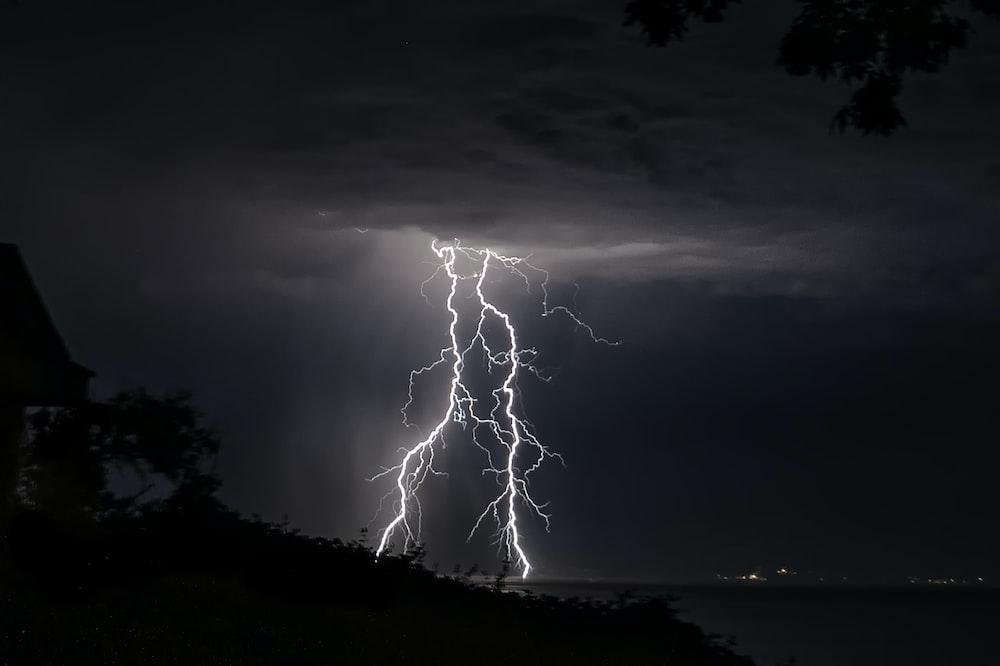 lightning on sky over the sea