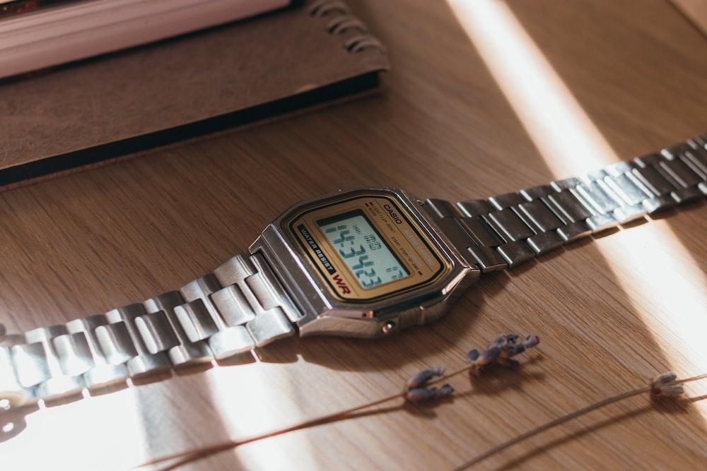 silver link bracelet gold casio digital watch