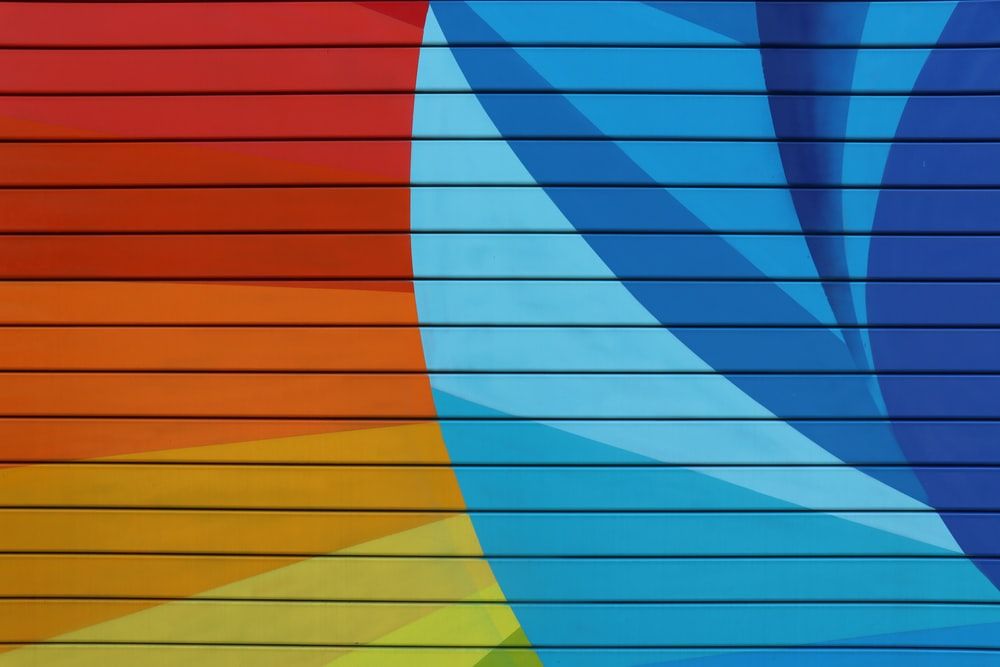 red yellow blue and green striped illustration