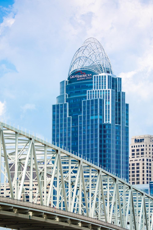 white metal bridge across city buildings during daytime