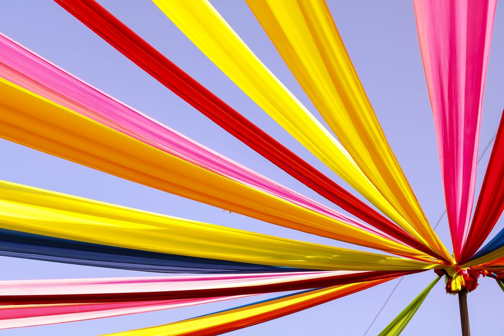 yellow red and blue striped artwork