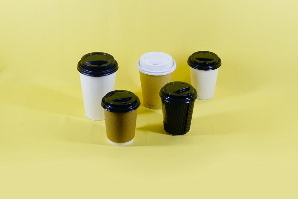 black and white plastic cups