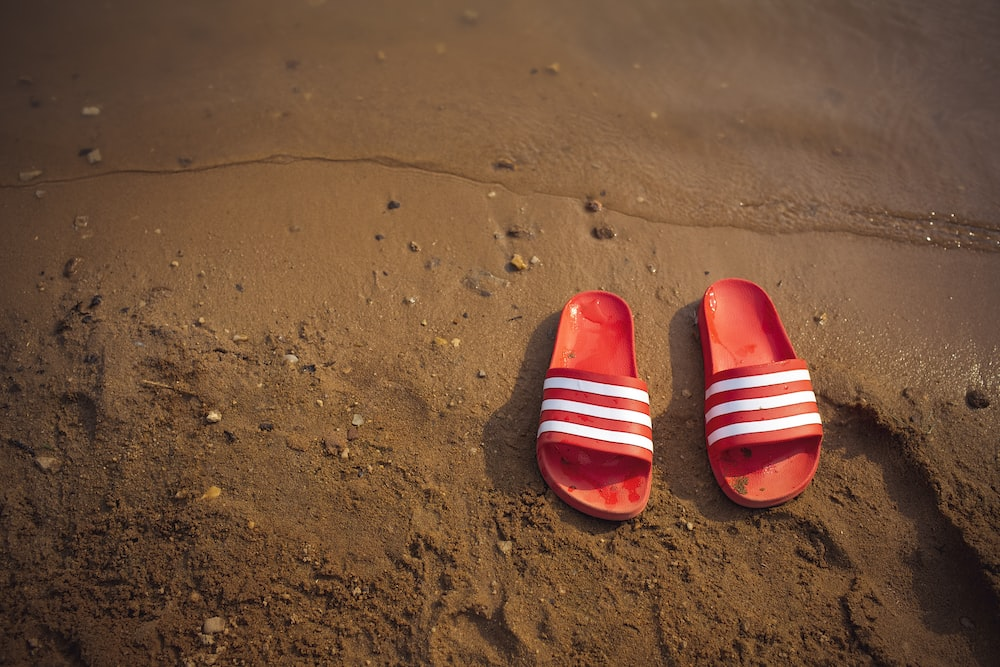 red and white striped slide sandals