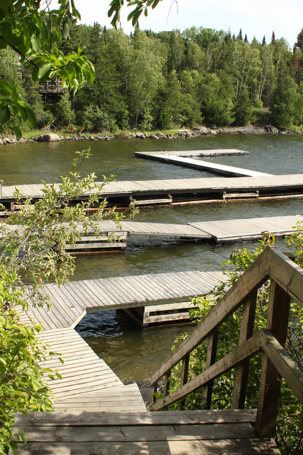 brown wooden dock on river during daytime