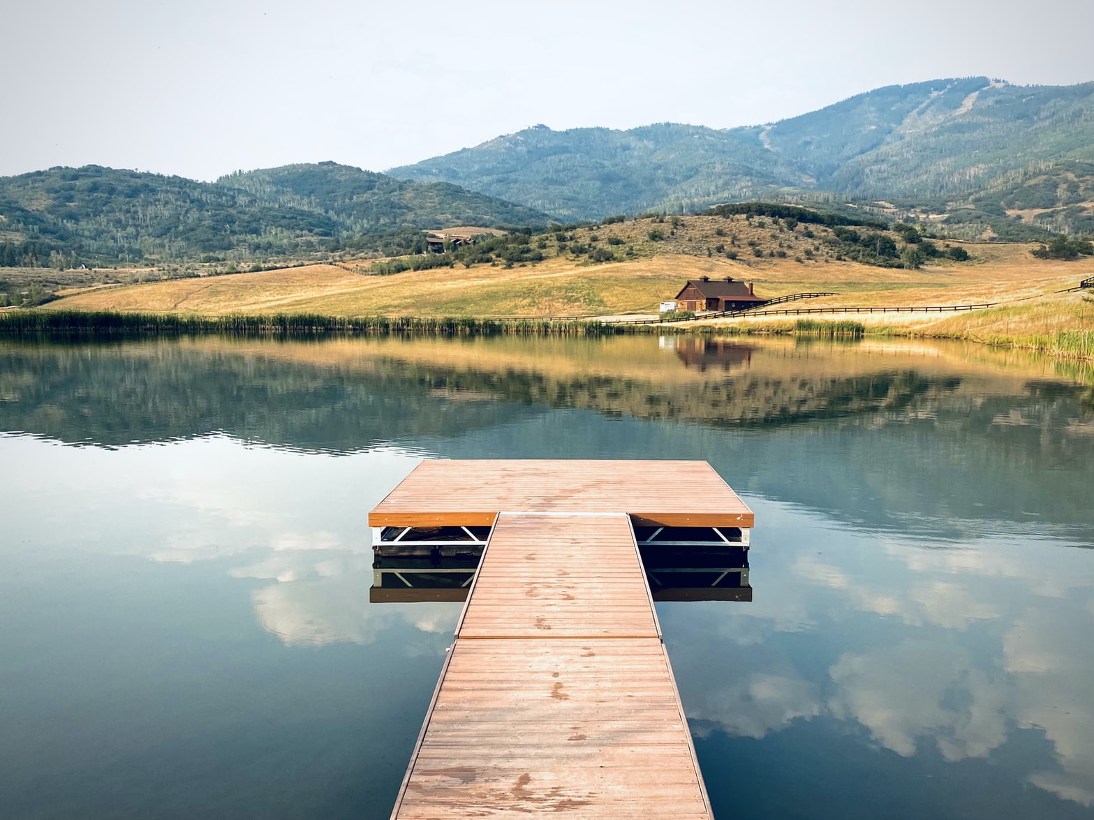 a deck over a lake in Steamboat Springs, Colorado