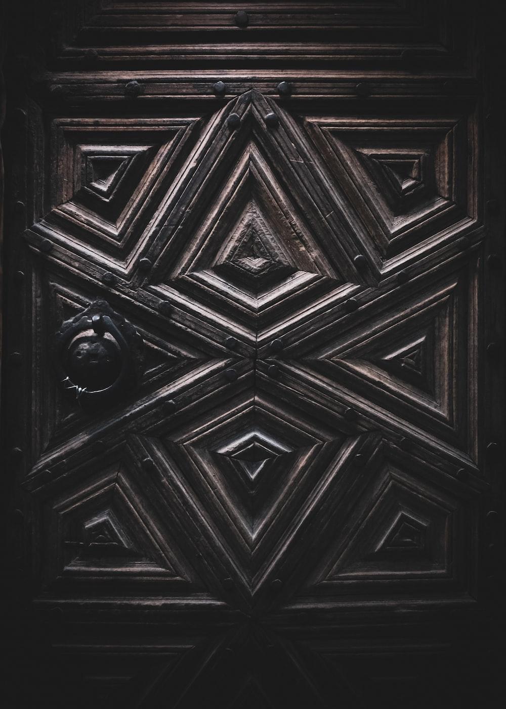 black and white wooden door