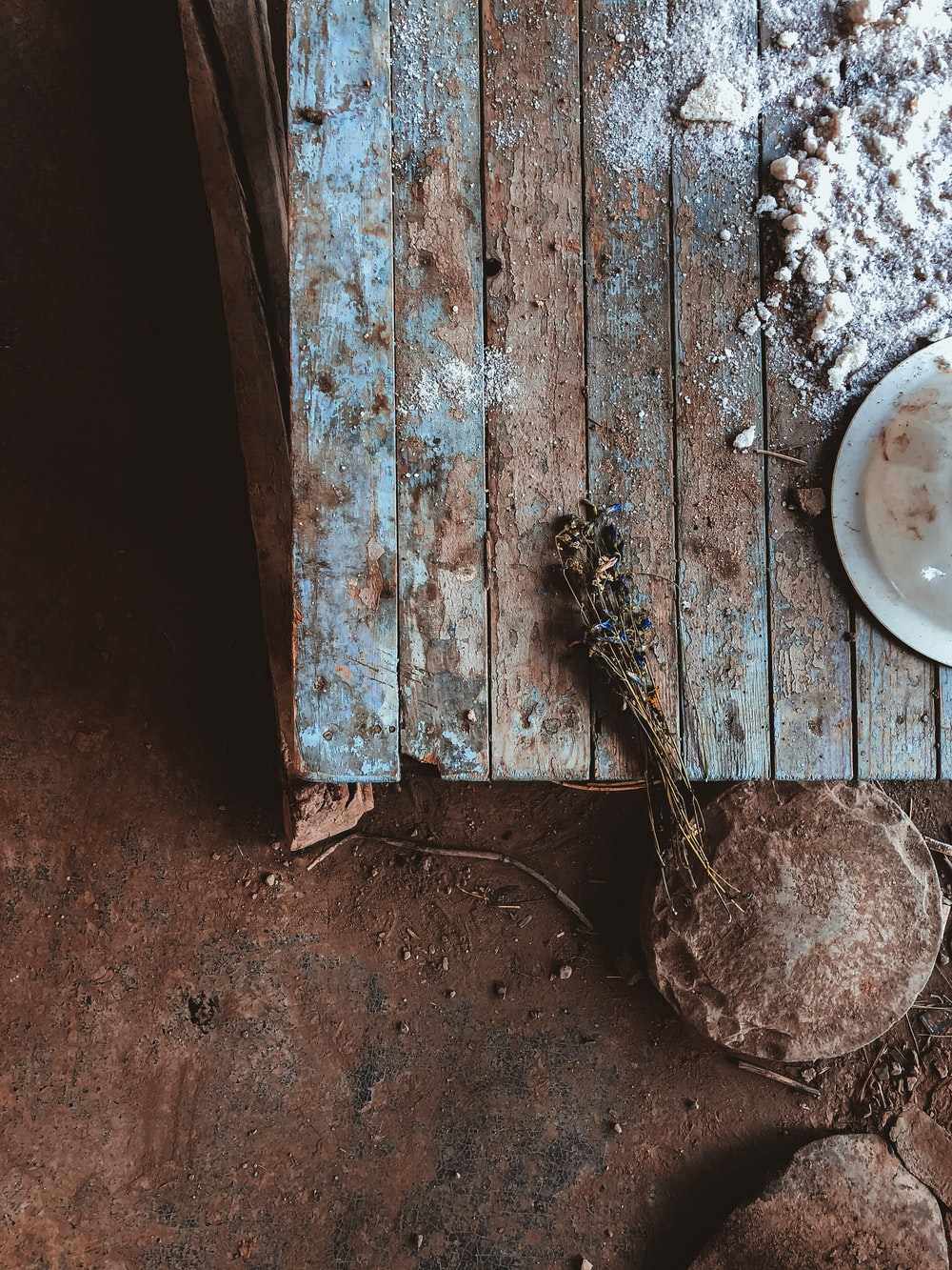 white round plate on brown wooden table
