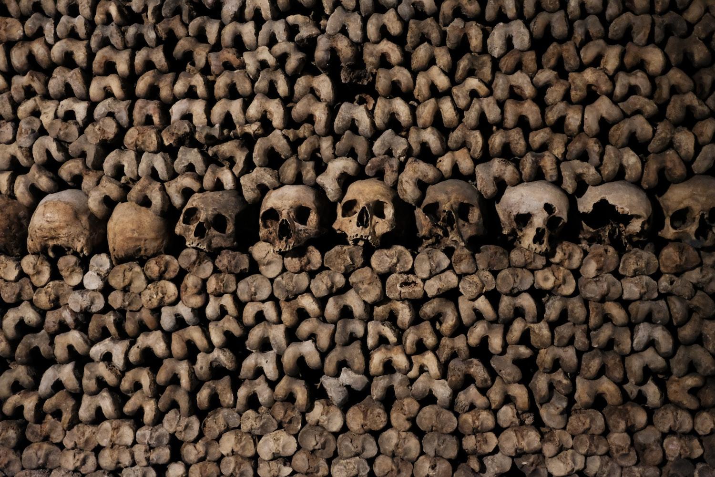 Bones piled high in the Catacombs of Paris