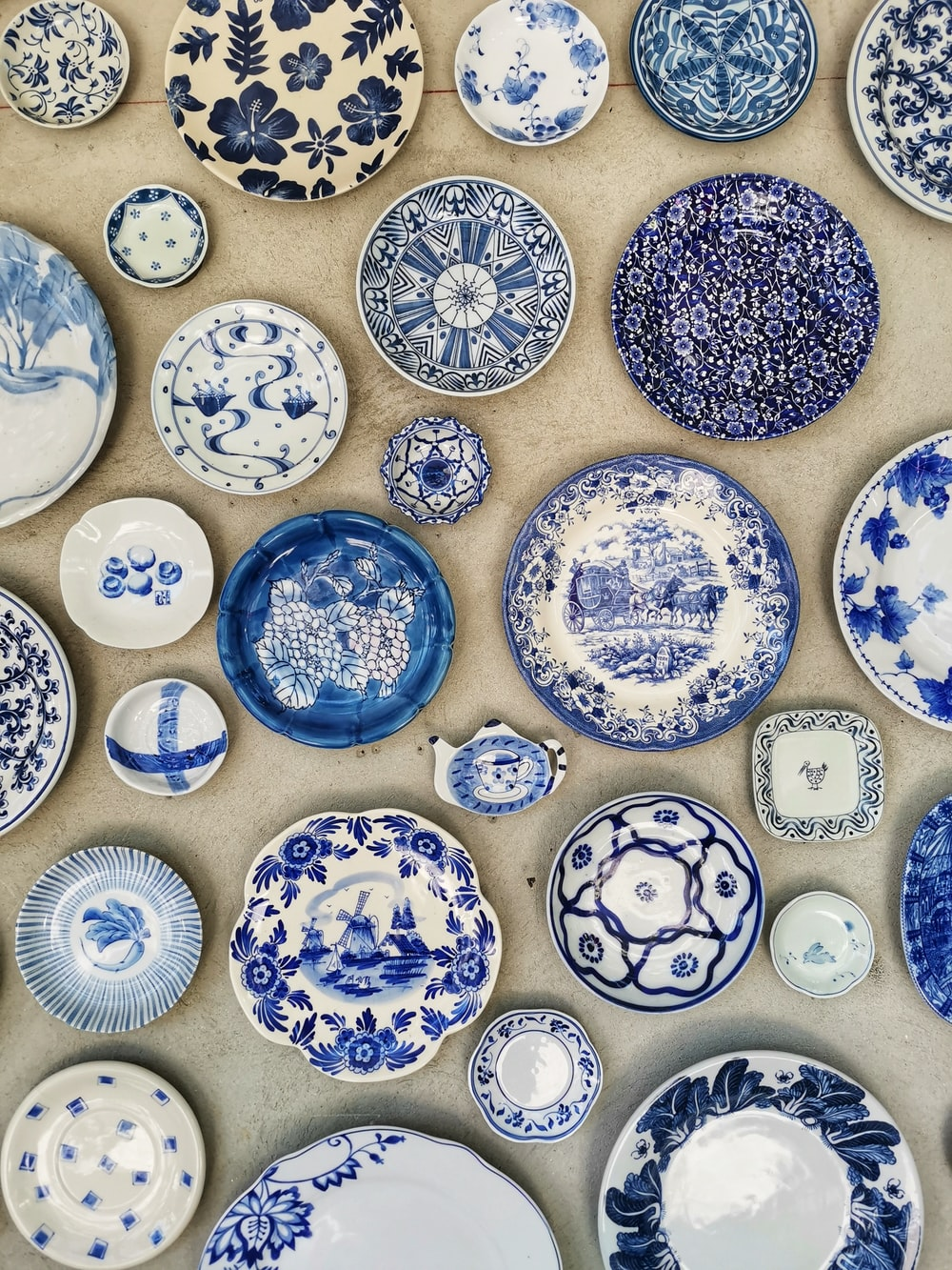 blue and white ceramic plate