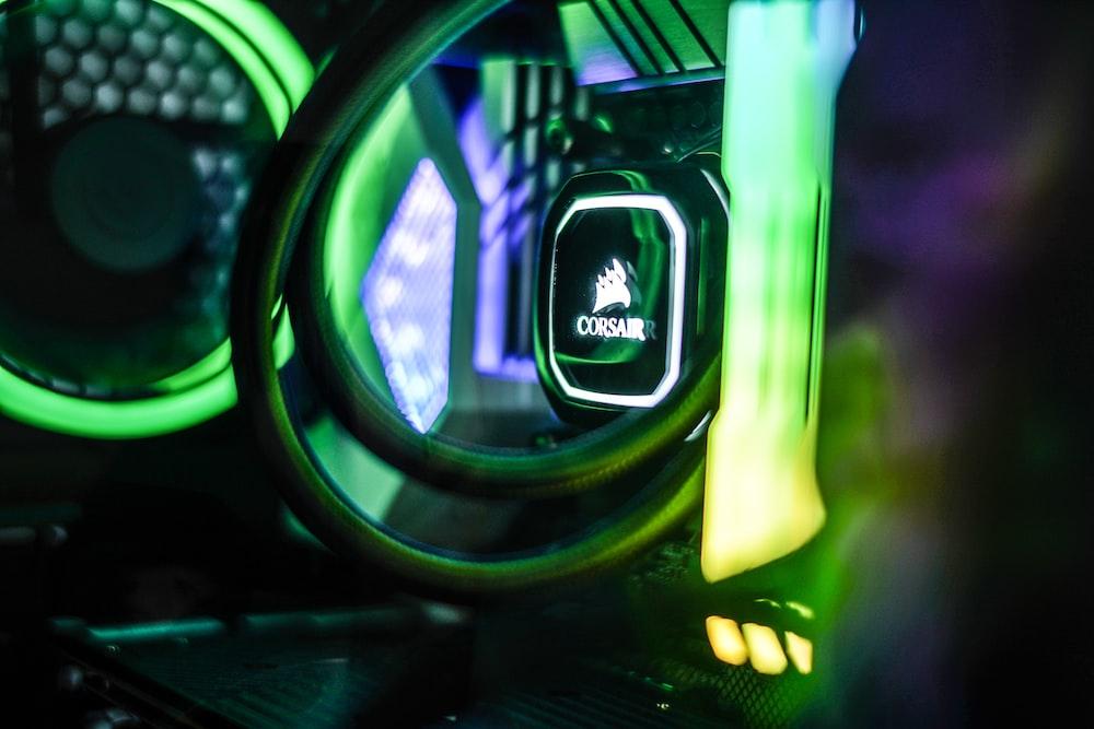 green and black led light