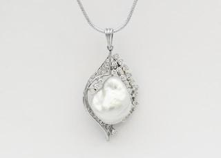 Baroque Pearl Diamond Necklace