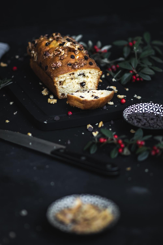 bread on black rectangular tray
