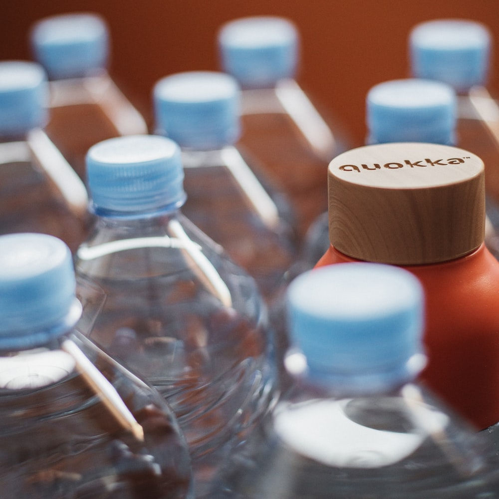 blue and white plastic bottles