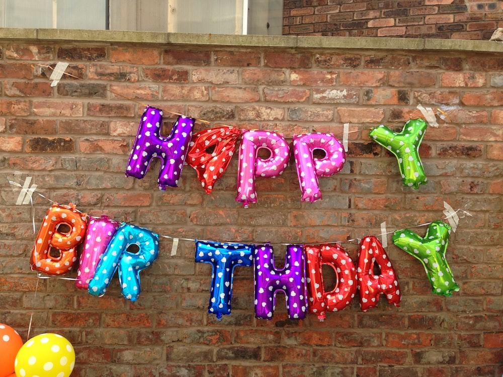 purple happy birthday wall decor