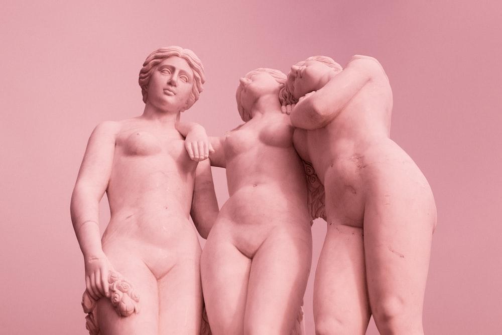 2 naked women ceramic figurine