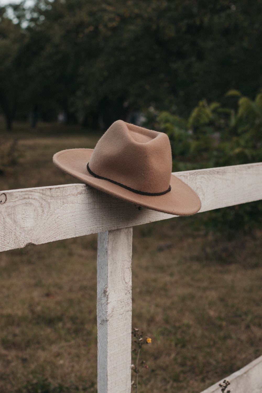 brown cowboy hat on wooden fence